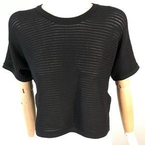 babaton knit black boxy nylon short sleeve